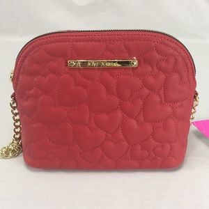 NWT Betsey Johnson Red Heart Quilted Crossbody